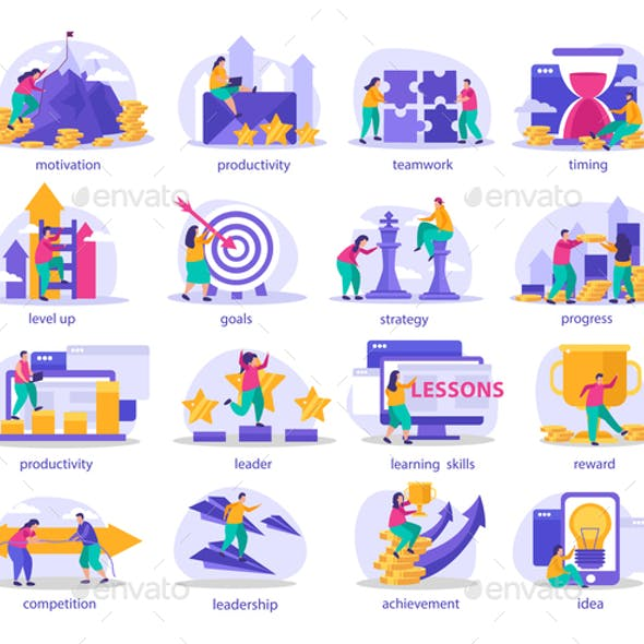 Business Gamification Flat Icons
