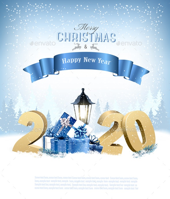 Merry Christmas Background with 2020 and Gift Boxes - Christmas Seasons/Holidays