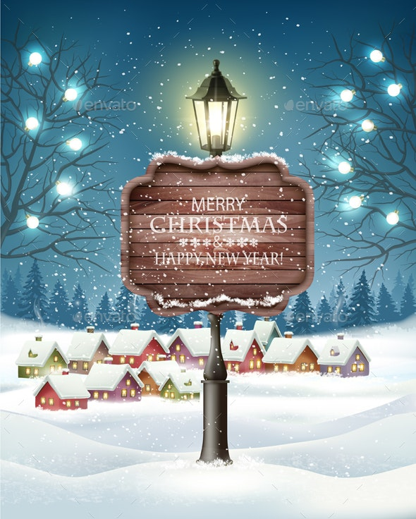 Christmas Evening Winter Landscape with Lampposts and a Winter Village - Christmas Seasons/Holidays
