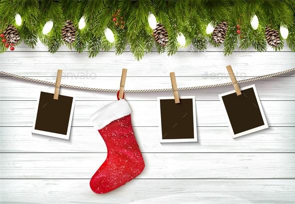Holiday Christmas Background with Photos and Stocking - Christmas Seasons/Holidays