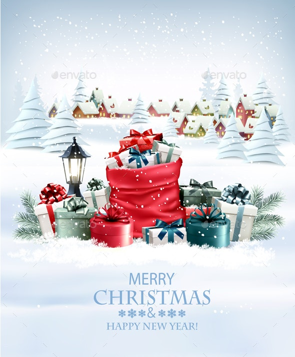 Christmas Holiday Background With a Red Sack Full Presents Vector - Christmas Seasons/Holidays