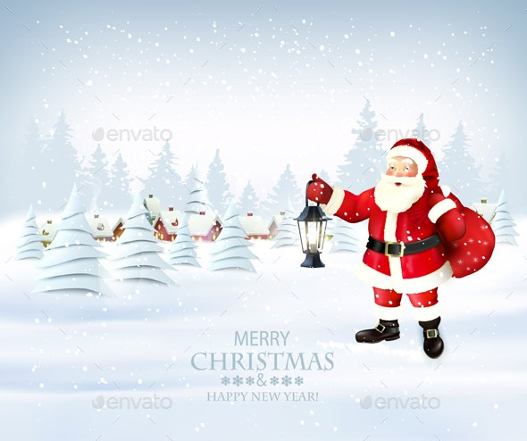 Christmas Holiday Background with Santa Claus and Winter Village - Christmas Seasons/Holidays