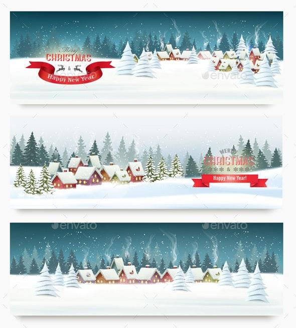 Three Christmas Holiday Landscape Banners - Christmas Seasons/Holidays