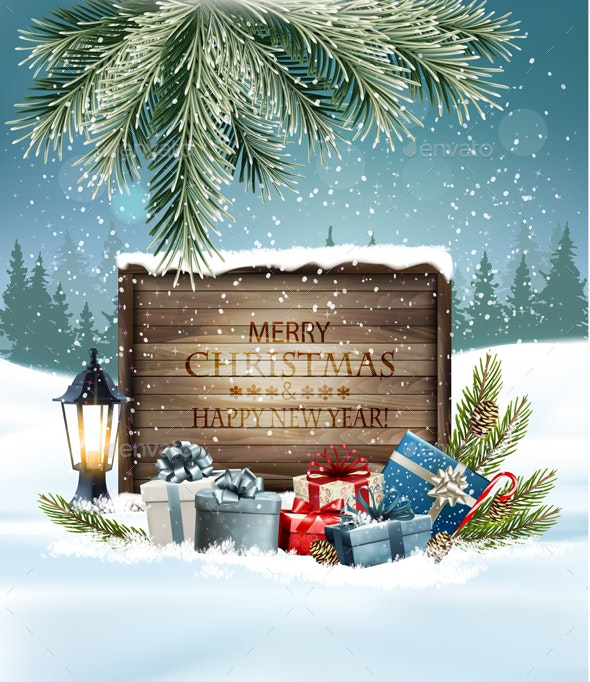 Holiday Christmas Background with a Presents and a Wooden Sign - Christmas Seasons/Holidays
