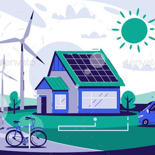Eco House Cartoon Vector Flat Illustration