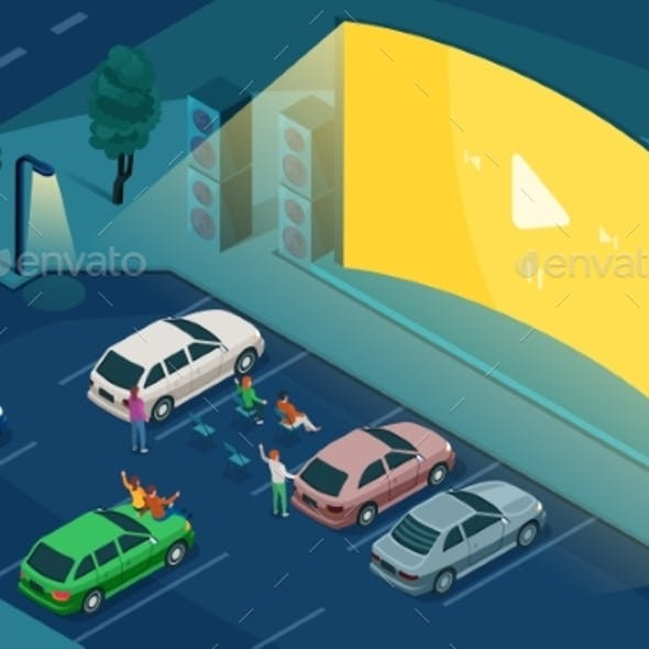 Isometric Drive Cinema Car Open Air Movie Theater