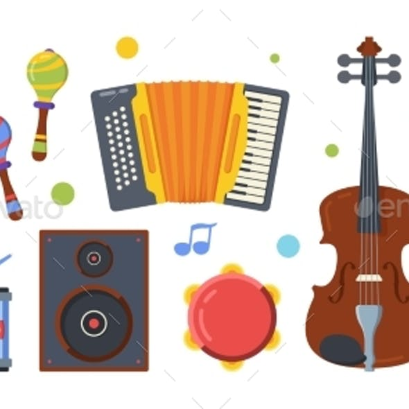 Different Folk Musical Instruments Flat