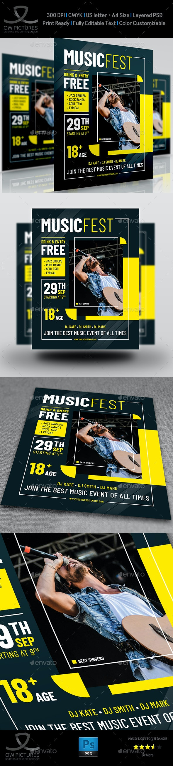 Music Fest Party Flyer Template - Events Flyers