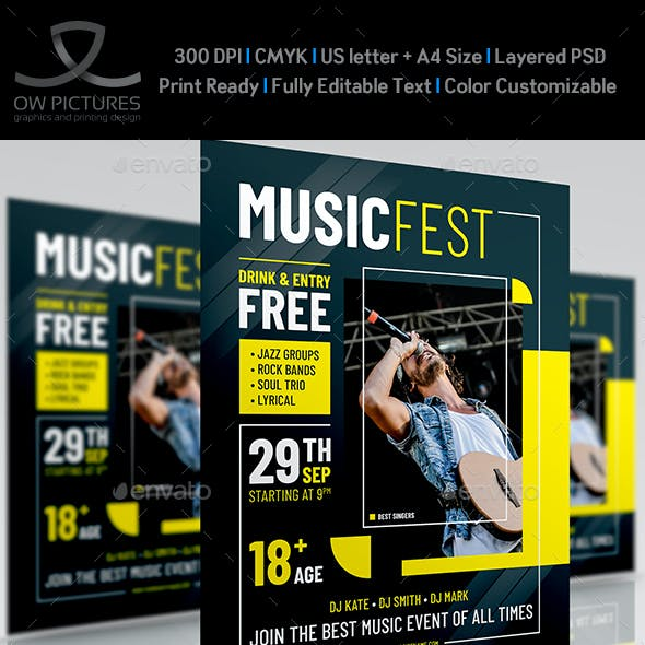 Music Fest Party Flyer Template