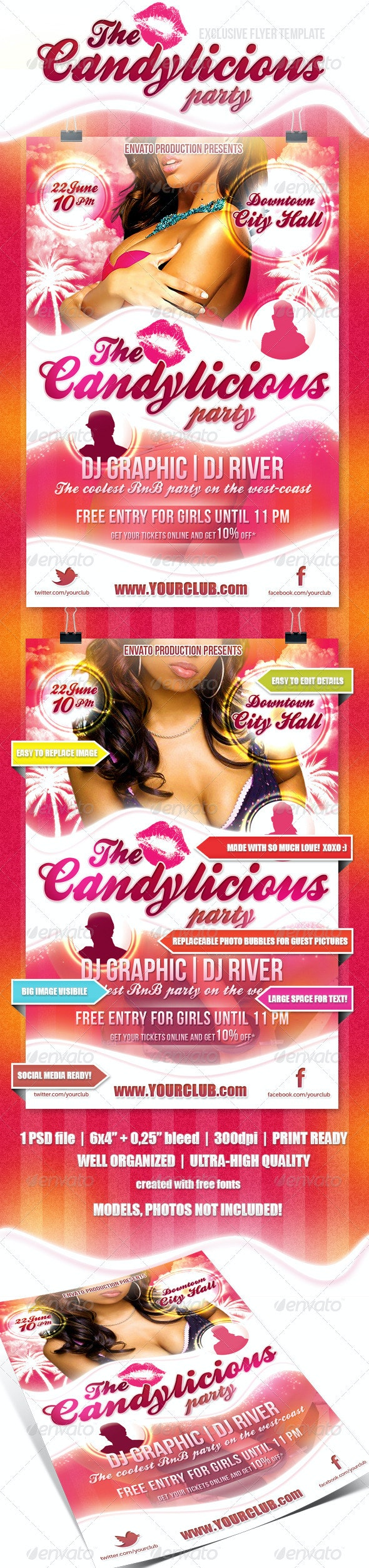 Candylicious Party flyer - Flyers Print Templates