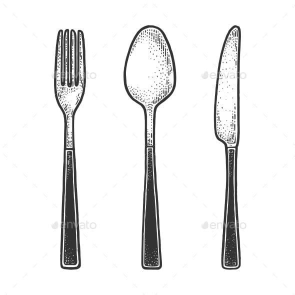 Cutlery Set Sketch Engraving Vector Illustration