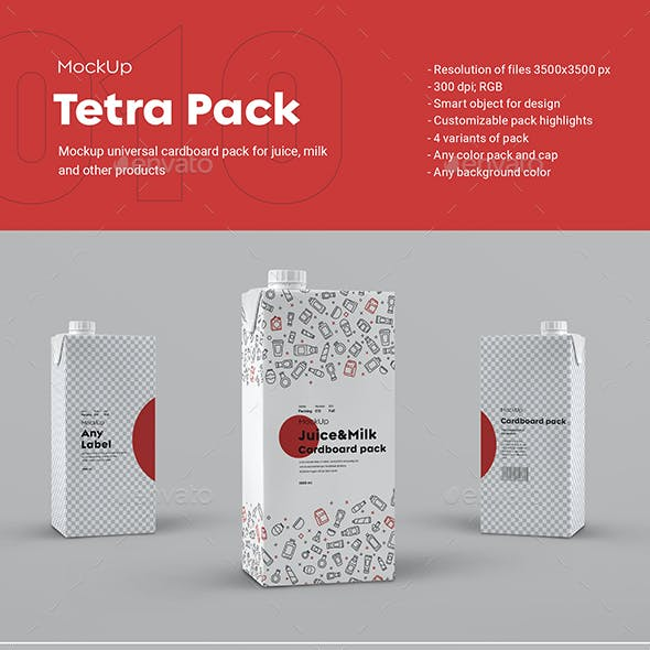 4 Mockups Tetra Pack with Cap