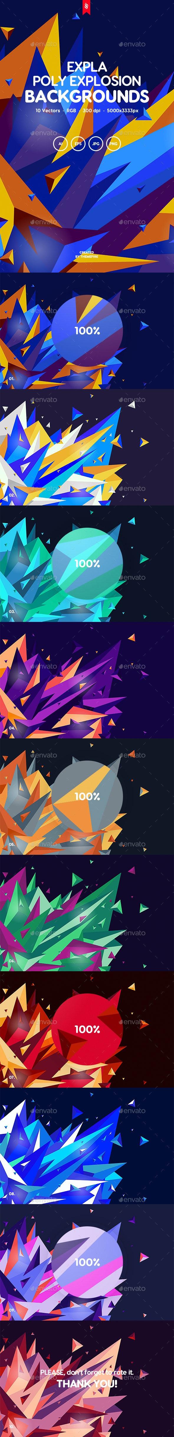 Expla - Polygonal Explosion Backgrounds - Miscellaneous Backgrounds