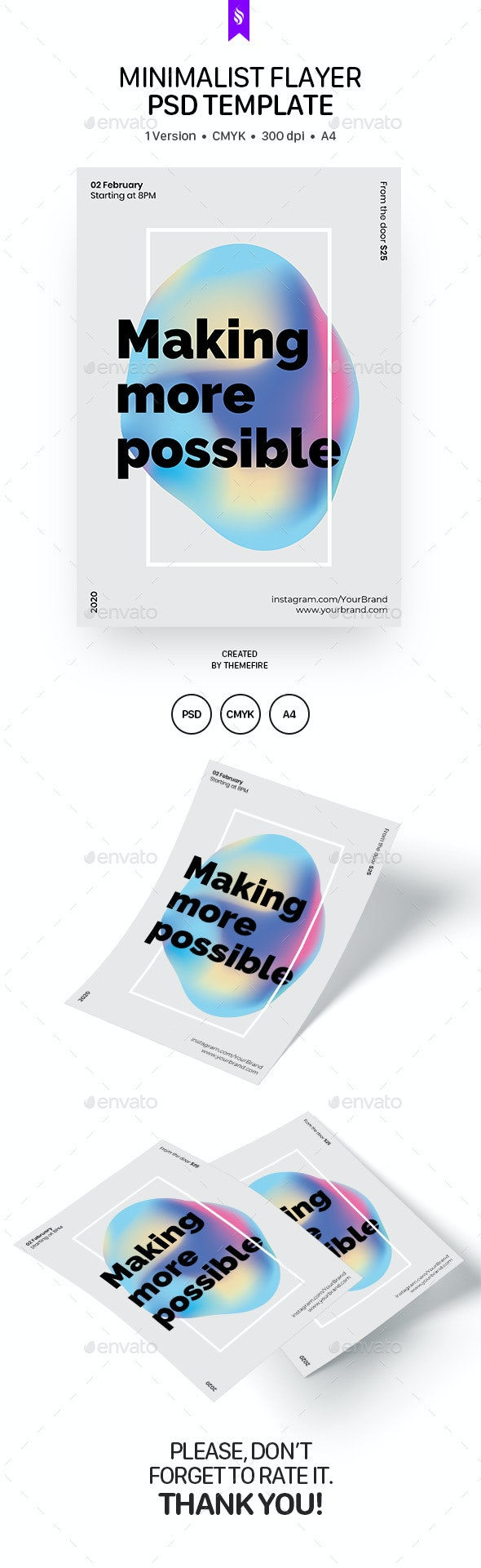 Minimalist Flayer PSD Template - Flyers Print Templates
