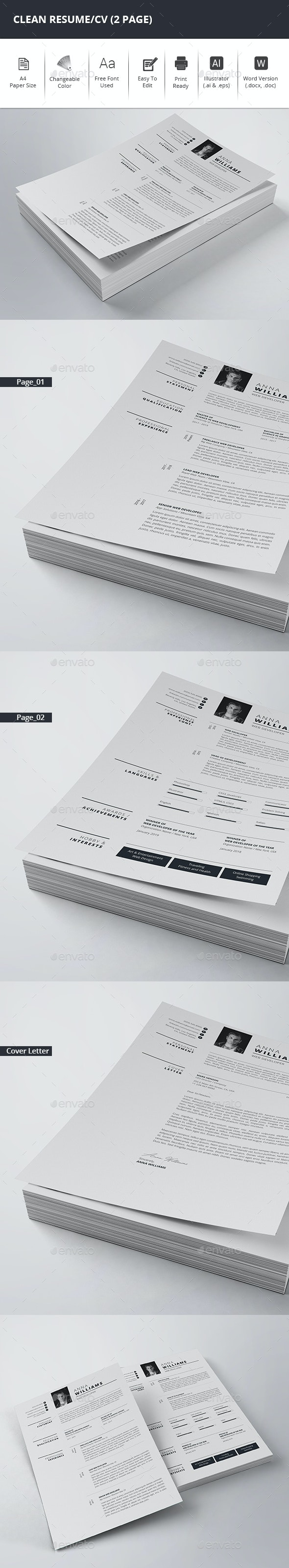 Clean Resume/CV (2 Page) - Resumes Stationery