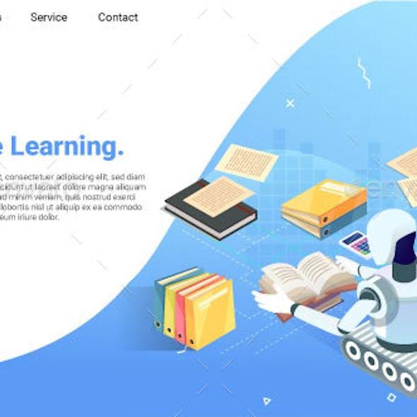 Machine Learning Isometric Web Illustration Concept