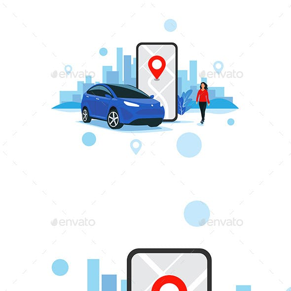 Online Car Sharing Service Controlled Via Smartphone App City Transportation