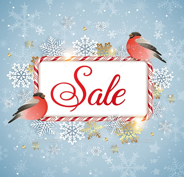 Winter Sale Background with Bullfinch - Christmas Seasons/Holidays