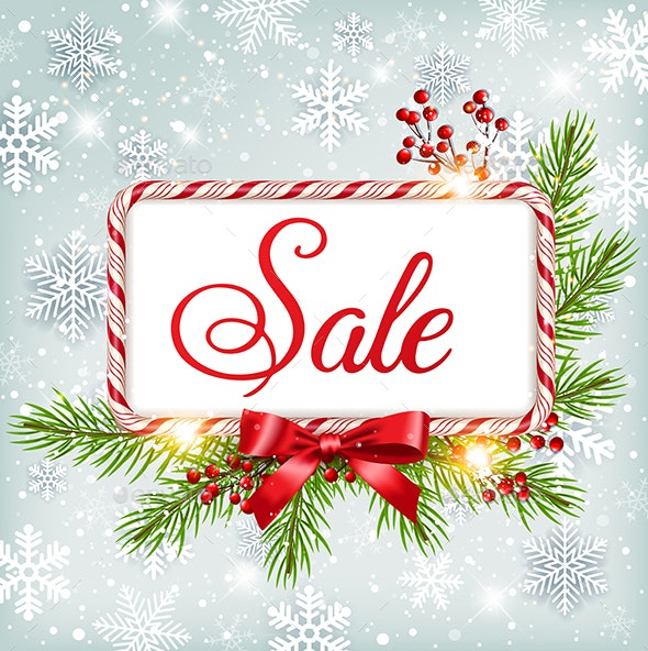 Winter Sale Background with Candy Frame - Christmas Seasons/Holidays