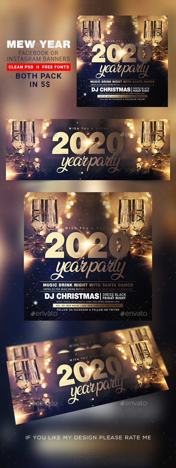 New Year Instagram Banner & Facebook Cover - Banners & Ads Web Elements