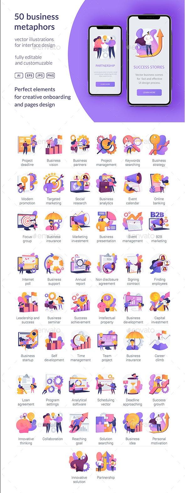 50 Business Vector Metaphors - Concepts Business