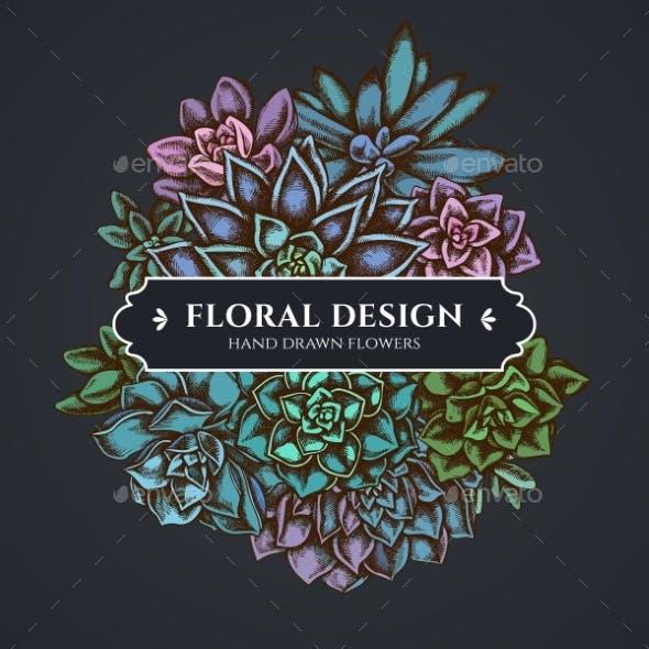 Floral Bouquet Dark Design with Succulent
