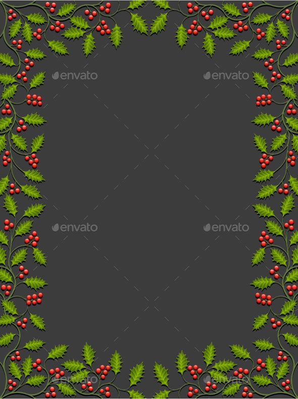 Abstract Floral Background with Holly - Christmas Seasons/Holidays