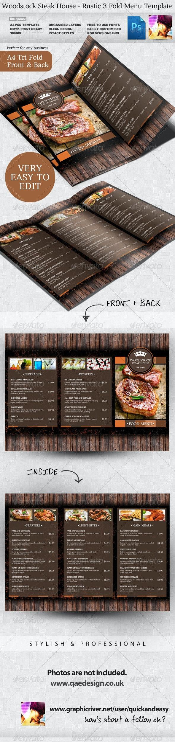Rustic Menu Template - Food Menus Print Templates