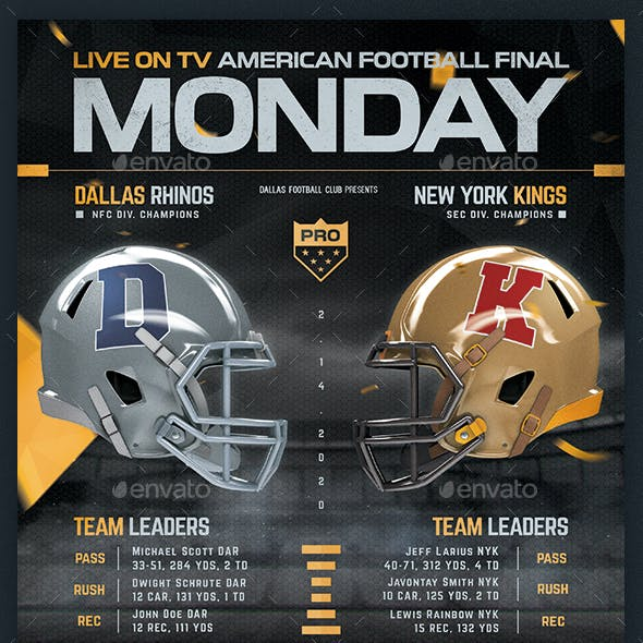 Football Superball Flyer v7 American Football Poster Template
