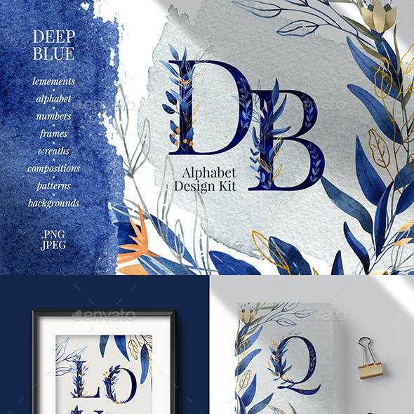 Deep Blue Alphabet Watercolor Design Kit