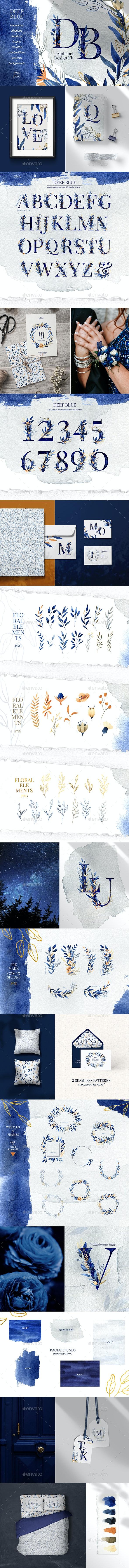 Deep Blue Alphabet Watercolor Design Kit - Objects Illustrations