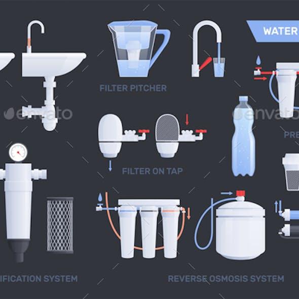 Flat Water Filter Icon Set