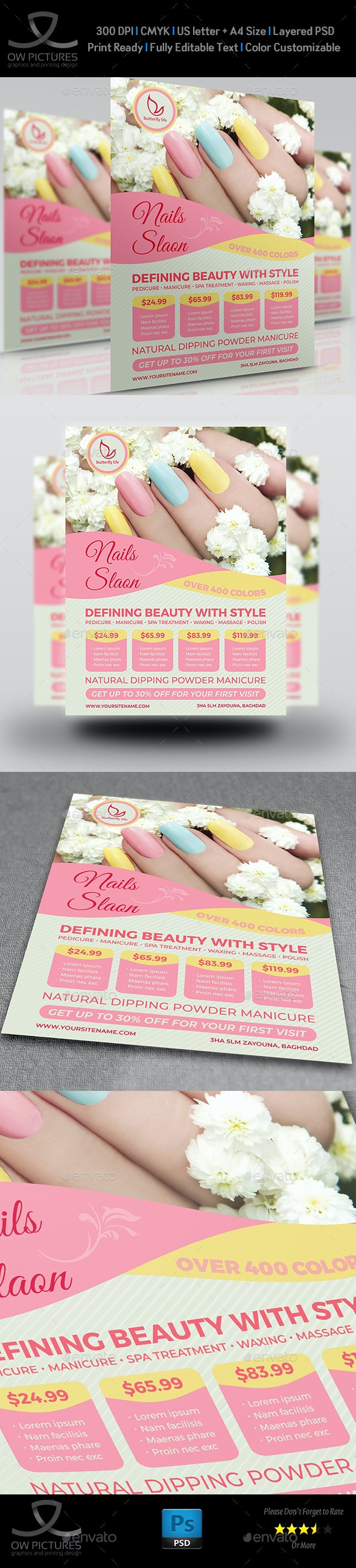 Nail Salon Flyer Template Vol.2 - Flyers Print Templates