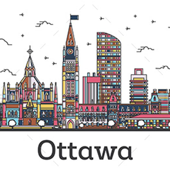 Outline Ottawa Canada City Skyline with Color Buildings