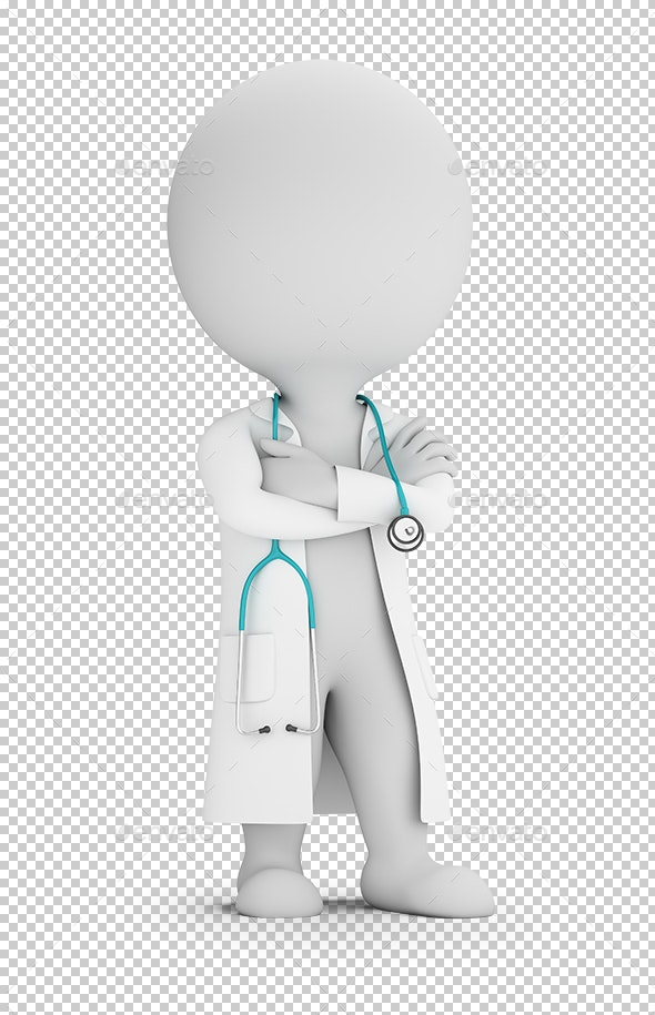 3D Small People - Doctor with Stethoscope - Characters 3D Renders