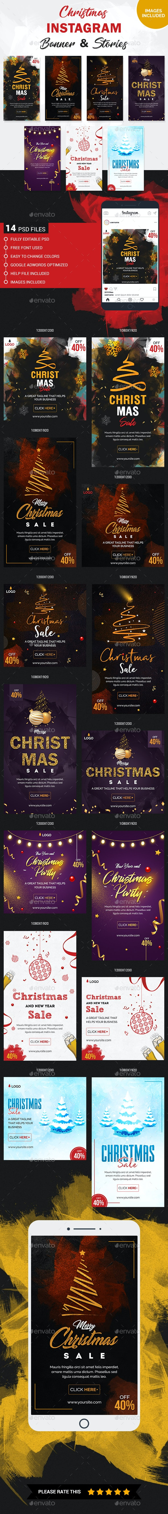Christmas Instagram Story and Banner Templates - Social Media Web Elements