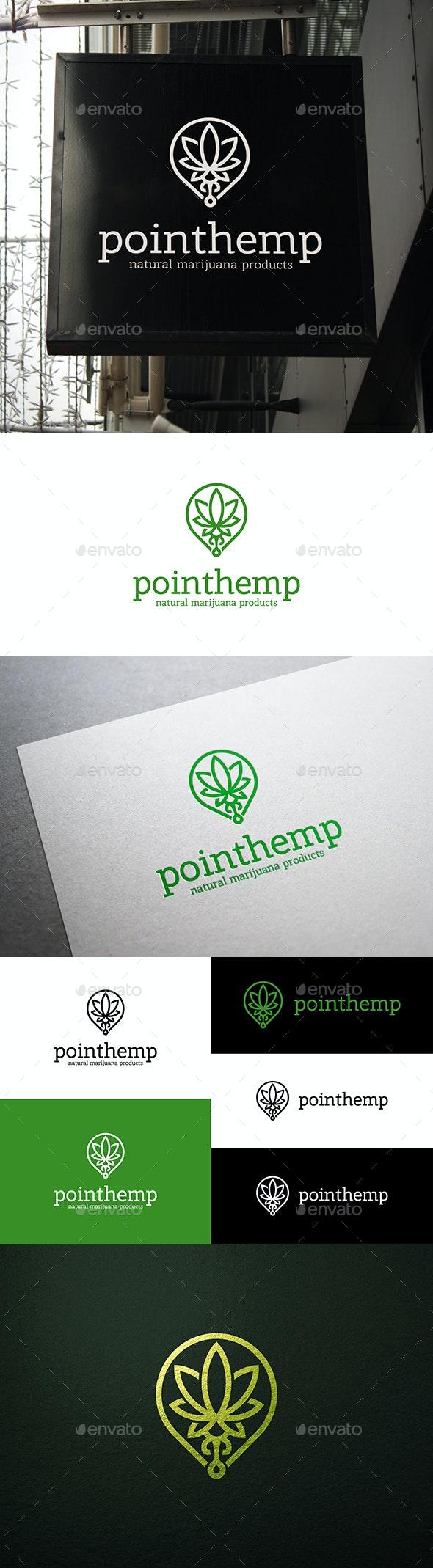 Cannabis Hemp Point Locator Logo - Nature Logo Templates