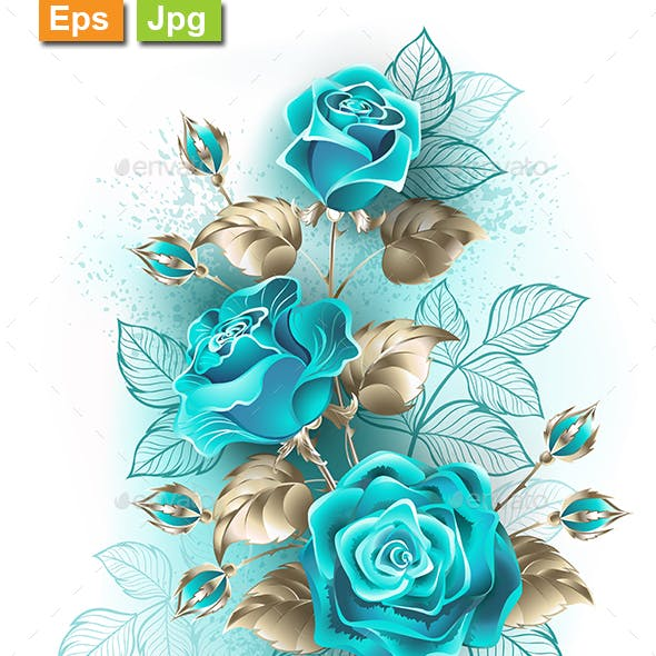 Bouquet of Turquoise Roses
