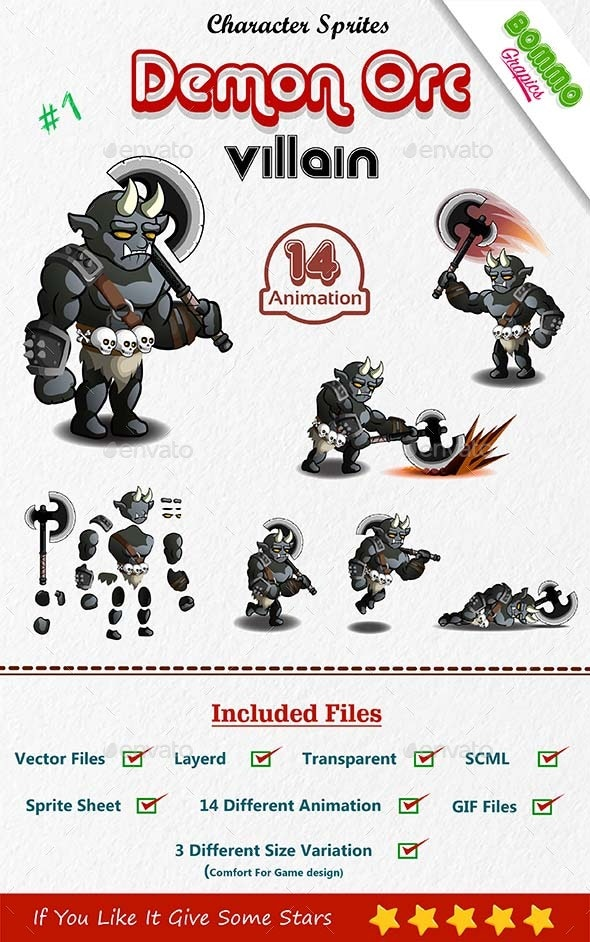 Orc Demon Enemy Character - Sprites Game Assets