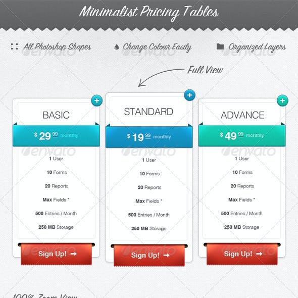 Minimalist Web Pricing Tables