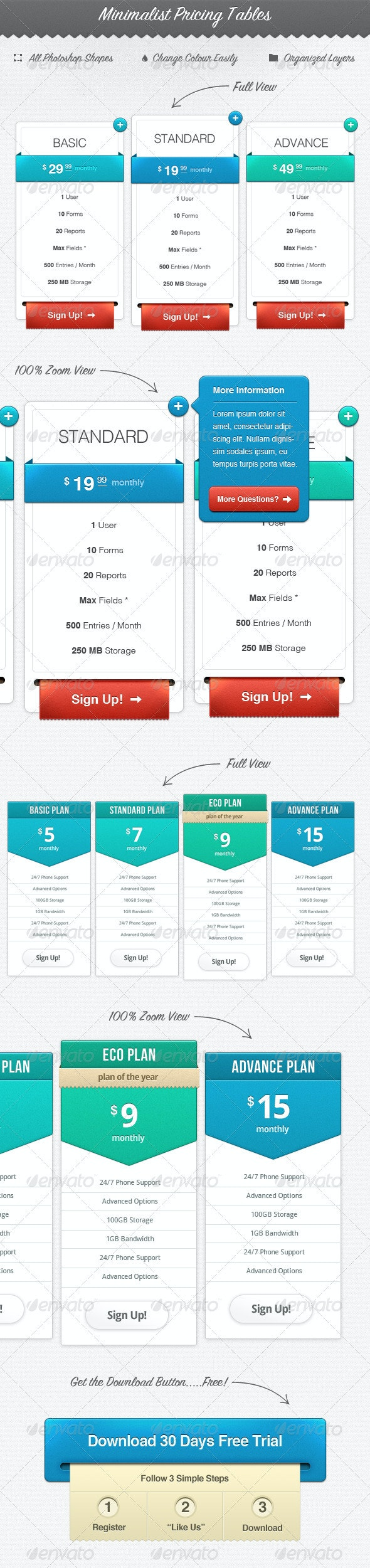 Minimalist Web Pricing Tables - Tables Web Elements