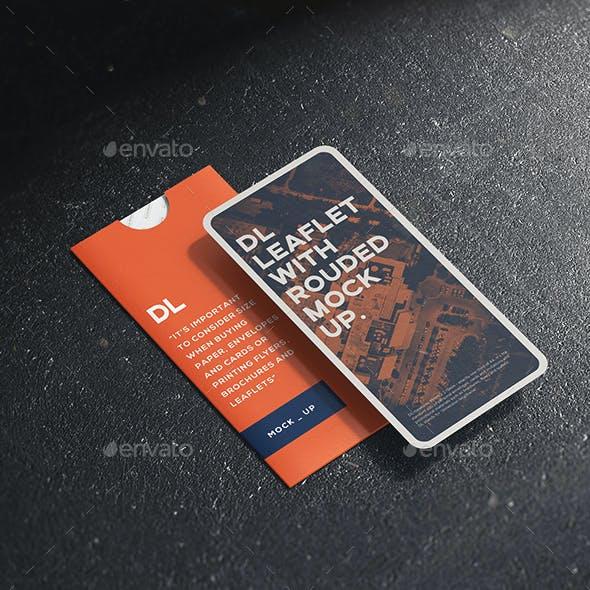 Leaflet DL with Rounded Corner mock-up