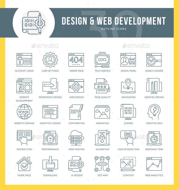 WEB Development Line Icons - Web Icons