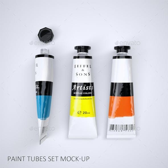 A Set of Paint Tubes Mock-Up