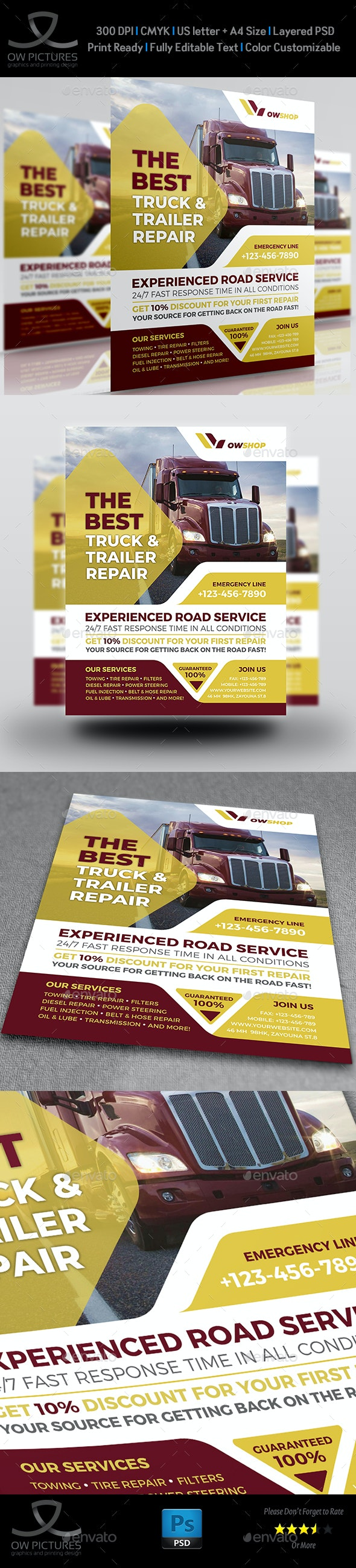 Truck and Trailer Repair Services Flyer Template - Corporate Flyers