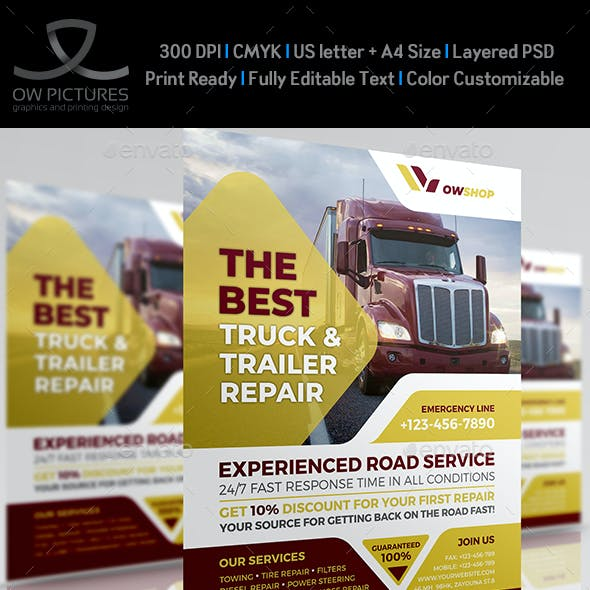 Truck and Trailer Repair Services Flyer Template
