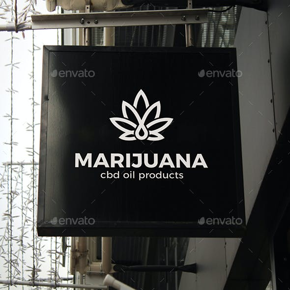 Marijuana Logo Cannabis Leaf and Drop