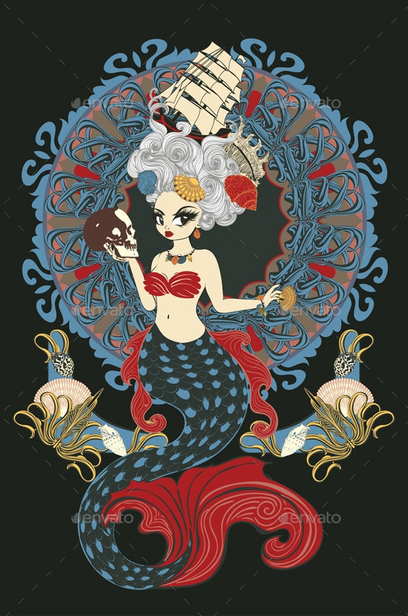 Rococo Mermaid Art Nouveau Frame - People Characters