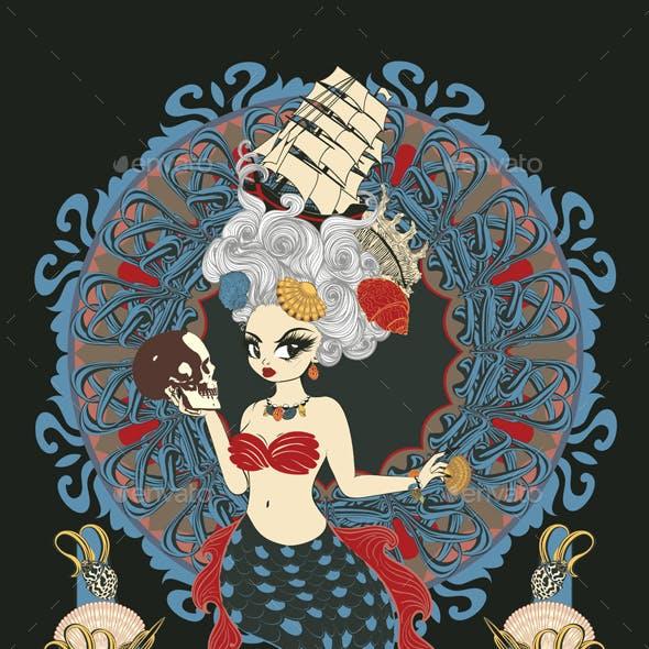 Rococo Mermaid Art Nouveau Frame