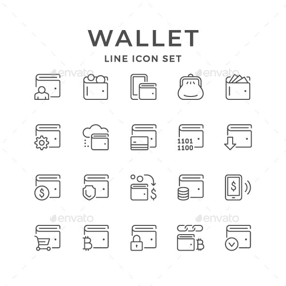 Set Line Icons of Wallet